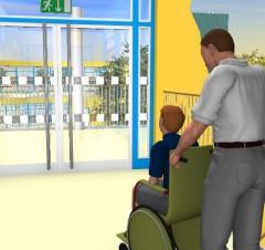 Abbildung: Rollstuhlfahrer vor einer Eingangstür